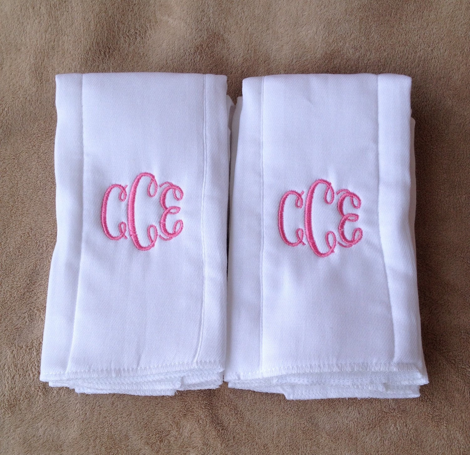 Monogrammed Burp Cloth Embroidered Baby Burp Cloths Girl