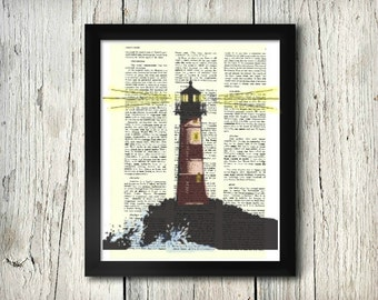 Lighthouse #1 - Decorative Art Print,Vintage posters,Drawing,print,poster,digital,wall decor,Gifts,Decorative Arts,illustration,Home Living