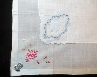 Two Vintage DESCO Heirloom Hankies, Embroidered/Petitpoint Roses, Cutout Applique, with Tags