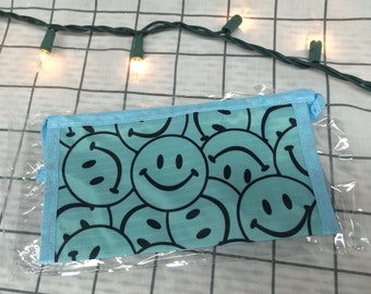 Blue All Over Print Smiley Face Cosmetic Bag/Coin Purse