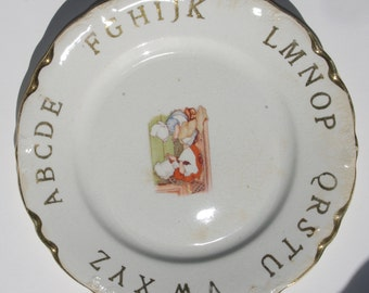 Vintage / Antique Child's Plate: Alphabet & Bonnet Girls Sewing Early 1900s DE McNicol