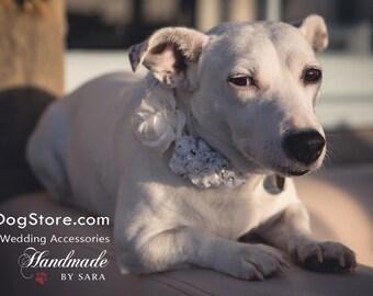 White Wedding Dog Collar, floral dog collar, wedding floral beach dog collar, dog lovers