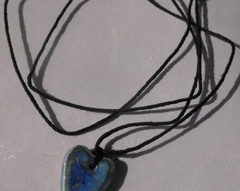 Blues Heart Necklace Handshaped Multi Glazed on Hemp Cord One of a Kind
