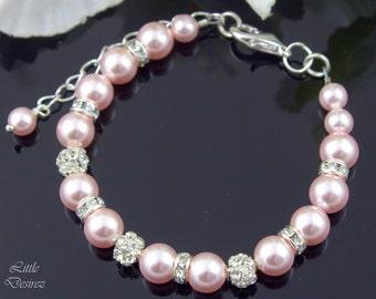 Pink Pearl Bracelet Crystal Rhinestone Pearl Bracelet Swarovski Pearl Bridal Bracelet Wedding Jewelry Pearl Jewelry Simple Bracelet