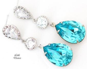 Teal Blue Earrings Turquoise Earrings Blue Bridal Earrings Wedding Earrings Swarovski Crystal Earrings Cubic Zirconia Earrings TQ31PC