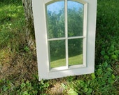 RESERVED SET of 2 Arch Window Faux  Mercury Glass Shutter Wall Hanging Farmhouse