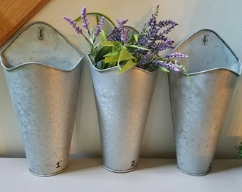 Galvanized Metal Wall Pocket  Wall Planter Wall Caddy Farmhouse with or without numbers