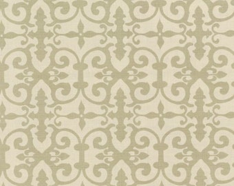 SCHUMACHER ENGLISH COUNTRY Chic Scrollworks Hand Blocked Linen Fabric 10 Yards Sage