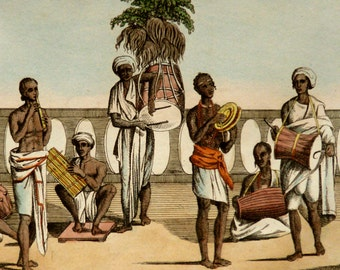 1828 Antique print of INDIAN MUSICIANS. INDIA. Antique indian musical instruments. Instrumentalists. 189 years old print