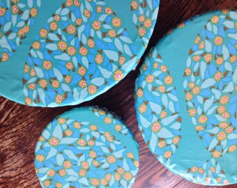 Reusable Bowl Cover Set of 3 Floral Blue Print