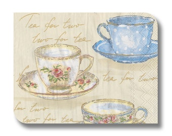 Teacup paper napkin for decoupage x 1 Tea for two. No 1075