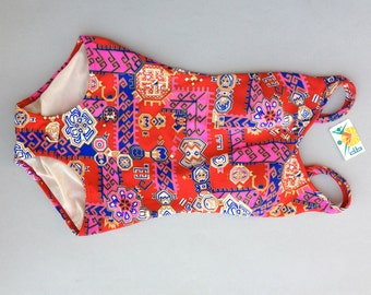 Vintage aztec swimsuit / 50's aztec print red bathing suit / 60's deadstock swimwear new with tag / bombshell bra / size Large / Extra Large