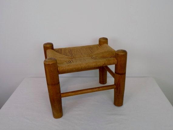 Vintage Woven Rush Seat Ottoman Footstool Seat Bench Mid