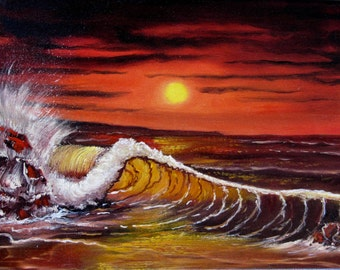 Seascape - Original Oil Painting - Red Painting - Red Sea