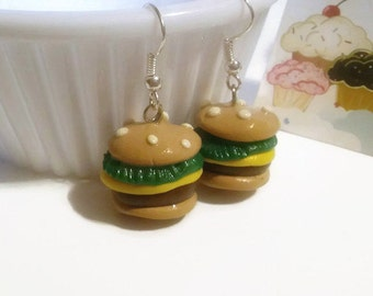 Hamburger Delight Earrings, Burger Earrings, Hamburger Jewelry, Burger Jewelry, new year accessories, food jewelry