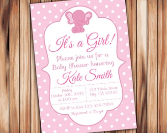 Elephant Baby Shower Girl Invitation -Digital Printable Invitation - Pink Babyshower -Personalized Printable Baby Shower (004)