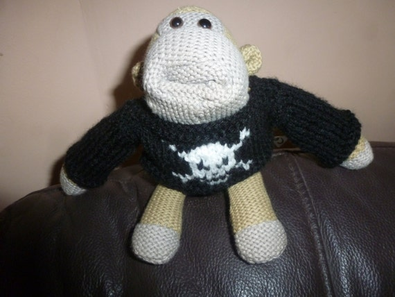Knitting Pattern For Pg Tips Monkey : Hand Knitted Pirate Sweater Fits PG Tips Small Monkey