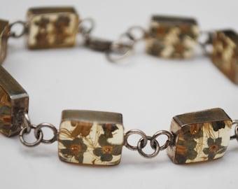 Sterling Link bracelet of Dried Flower in resin stone