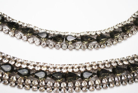 Rhinestone Bracelet  Necklace Set - clear blue grey crystal - Hollywood glamour - wedding bride  Grey pear shape stones silver setting