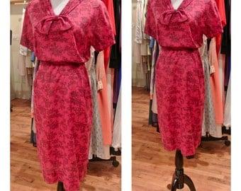 1960s Novelty Print Cotton Dress Vintage 1950s Pink  Red Magenta Sundress Belted Midi Day Dress Garden Party Dress Medium Large