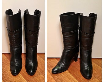 Size 7 Black Leather High Heel Midi Boots Vintage 1980s Polished Leather Heeled Above Ankle Sleek Straight Stacked Thick Heel Mid-Calf Boots