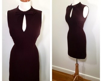 1980s Moschino Brown A-Line Mini Dress Designer Vintage Moschino Cheap and Chic Knit Wool 1960s Style Day Dress Party Dress