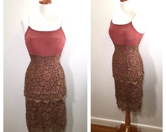 Vintage 1920s Silk and Lace Party Dress Rose Brown Tiered 20s Midi Dress 1930s Silk and Lace Slip Dress Cocktail Dress Wedding Guest Dress