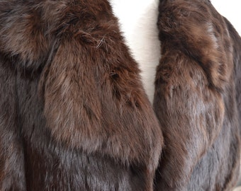 VINTAGE fur brown coat jacket super soft and warm