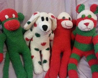 Fuzzy Christmas Sock Monkey Sock Bear Sock Dog Sock Bunny Holiday Custom Soft Plush Doll Toy Handmade