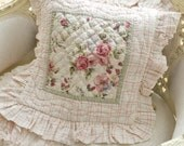 Pair of Vintage Soft Floral Quilted Pillow Covers / Roses / Decorative Pillows