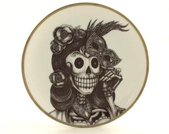 Sugar Skull Altered Vintage Porcelain Plate Woman Mask Day of the Dead Mexico Halloween Masquerade Dios de los Muertos Wall Decoration