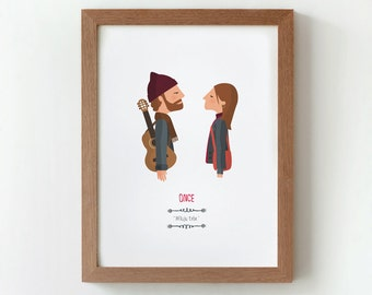 Illustration. Once. Based on the film by John Carney. Print. Wall art. Art decor.Printed art. Decor home. Gift idea. Bedroom. Tutticonfetti.