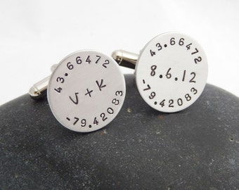 Latitude and Longitude Custom Cuff Links - Wedding Gift Groom Best Man Anniversary Graduation Gift Personalized Cuff Links Custom Cufflinks
