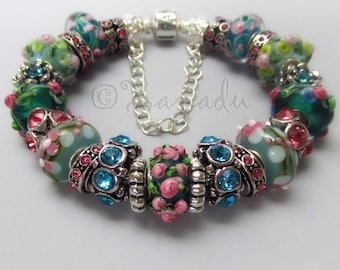 Genuine Pandora Bracelet With European Style Artisan Murano Glass Lampwork Beads And Rhinestone Charms