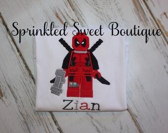 Lego Superhero Deadpool Custom Monogram Boys Girls Birthday Shirt Pick Your Superhero Perfect for Family Disney World Trip