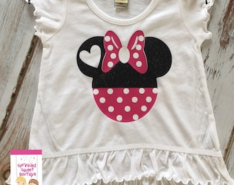 Sale Ready To Ship 18m Minnie Mouse Glitter Heart Shirt Custom Perfect for Disney World Trip First Birthday