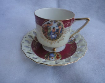 Vintage Royal Halsey Footed Tea Cup and Saucer Very Fine Made in Japan, L M Royal Halsey Tea Cup and Saucer, Lipper and Mann Tea Cup Saucer