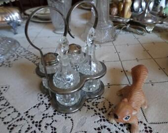 Lovely Antique Crystal/Glass Condiment Set in Handled Silverplate Holder-Cruet/Salt/Pepper