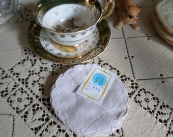 Vintage Linen/Cotton Fancy Round Ivory Cloth Glass/Teacup/Coffee Cup/Beverage/Drink-Coasters-X12