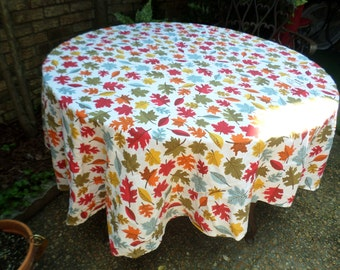 """Vintage Cotton Colorful Leaves-Fall Colors-76""""x57"""" Oval Tablecloth/Covering-Gorgeous"""