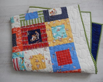 "Quilt in ""children at play"" for little boy...Toddler...Bunk Bed.....Primary Colors......"