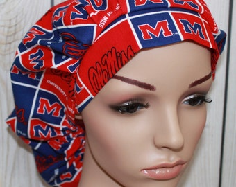 Ole Miss,Bouffant Women's Scrub Hat, Surgical Scrub Hat, OR Nurses Scrub Hat, Scrub Cap