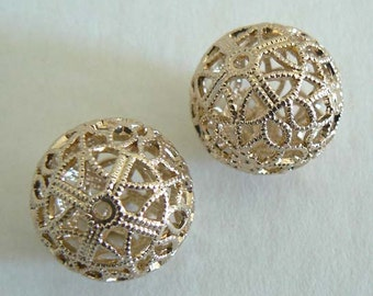 Exquisite Filigree Vintage Beads From West Germany Light Weight Never Worn Earring Parts