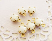 Swarovski Opaque White Alabaster Rhinestone 6mm Round Drops or Connectors Charms Brass Settings - 6