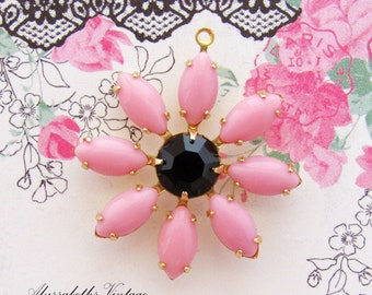 Daisy Flower Opaque Pink and Black Swarovski Rhinestone Vintage Glass Stone Floral Pendant Antiqued Silver or Brass Drop - 1
