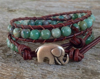green leather bracelet jade silver elephant dark brown 2 strand jewelry