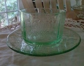 "US Glass "" Paneled Aster or Primo"" Cup and Saucer 1930's"