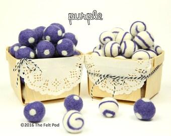 Wool Felt Balls // DIY Garland // DIY Mobile // Wool Beads // Purple Swirls & Dots // 2.5 cm // 10 Count