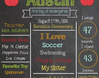 Chalkboard First Day of School Sign Apples