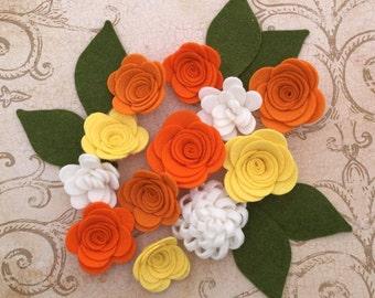 Fall Handmade Wool Felt Flowers. Tangelo, Pumpkin, Yellow and White